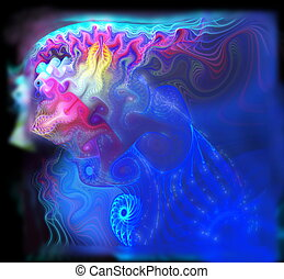 Fantastic fractal as an abstract spray and spray reminiscent of blue jellyfish in the ocean