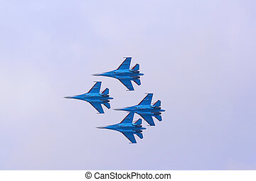 Group flight of russian highest pilotage team on SU-27