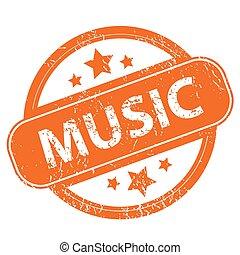 Music grunge icon - Music orange grunge rubber stamp on a...