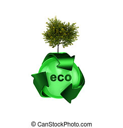 Recycle logo with tree - Hight resolution render of recycle...