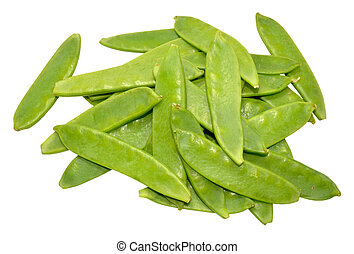 Mangetout Peas - Group of fresh mangetout peas isolated on a...