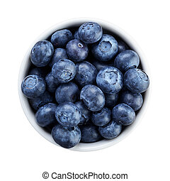 fresh ripe blueberries in white bowl directly above,...