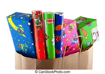 Shopping for Sinterklaas with presents and wrapping paper...