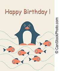 Happy birthday card with penguin.