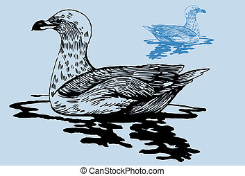 Seagull Pond in a hand drawn ink style art