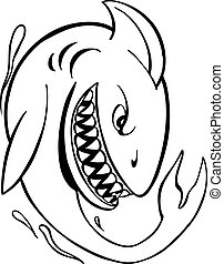 Angry Shark Line Art