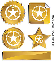 Sheriff Rope Badge Icon gold