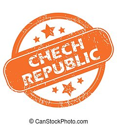 Chech Republic grunge icon - Chech Republic orange grunge...