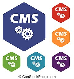 Cms rhombus icons set in different colors. Vector...