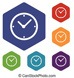 Clock rhombus icons set in different colors. Vector...