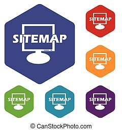 Sitemap rhombus icons set in different colors Vector...