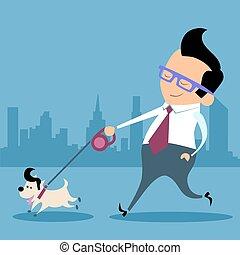 Businessman dog walk office worker
