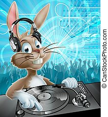 Easter Bunny Party DJ - A cartoon Easter Bunny DJ with...