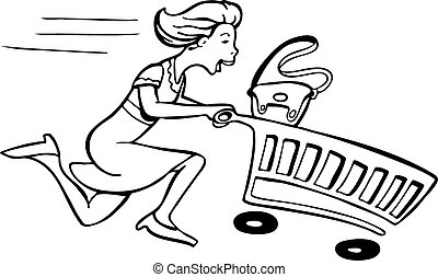 Running Shopper line art isolated on a white background.