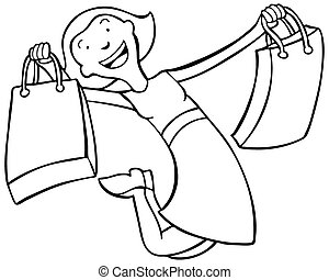 Shopping Woman Line Art isolated on a white background