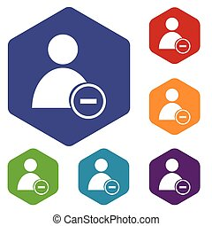 Remove user rhombus icons set in different colors. Vector...