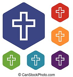 Protestant Cross rhombus icons set in different colors...