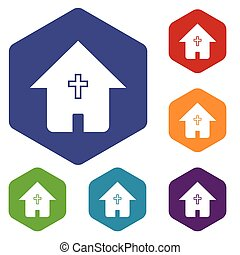 Protestant church rhombus icons set in different colors....