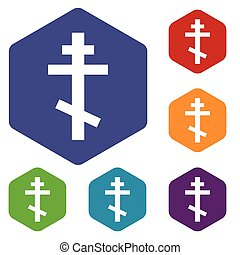 Orthodoxy rhombus icons set in different colors. Vector...