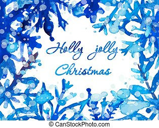 Watercolor snowflake card - Holly jolly Christmas card Hand...