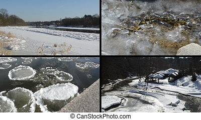 collage of winter river - Ice floe floating on river water...