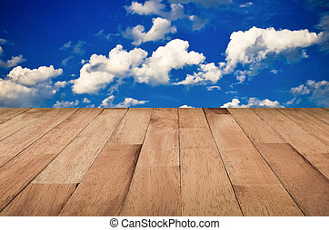 Wooden planks - Sky background with with wooden planks