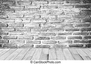 Brick wall and wooden floor - empty room with red brick wall...