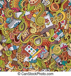 Cartoon vector art and craft seamless pattern