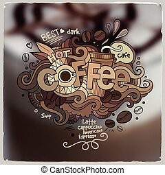 Coffee hand lettering and doodles elements on blurred...