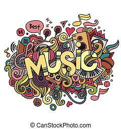 Music hand lettering and doodles elements background. Vector...