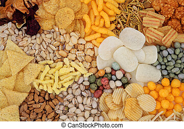 Snack Food - Savory snack food selection forming an abstract...