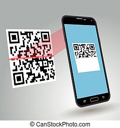 Scanning QR code - Illustration of scanning a QR code with a...