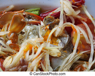 Som Tum - Thai Style - Som Tum Thai with blue crab
