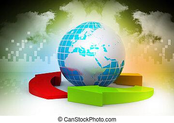 Globe and multi color arrows
