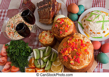 Ester meal - Ester cake and other meal on festive table