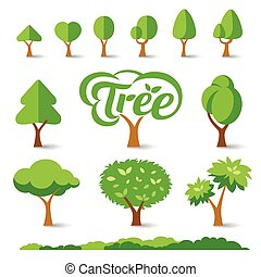 Trees collections set design, vector illustrations