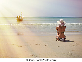 Girl on the beach of Phuket island, Thailand