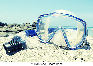 Snorkeling set on Karon beach of Phuket island, Thailand