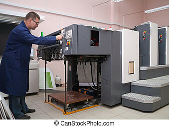 working offset printer - Printer working at his modern...