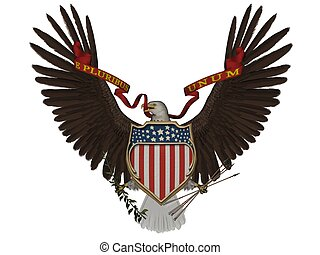 US symbol - 3D rendered US symbol on white background...