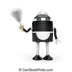 Housemaid with duster - New technologies metaphor. Isolated...