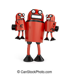Robots family - Electronics and technologies metaphor...