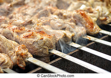 Barbecue - Fresh meat Barbecue Cooking outdoors