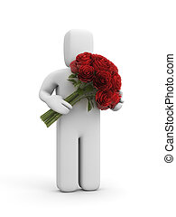3d character holding out large bouquet of roses
