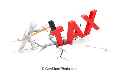 People against taxes - Business concept Isolated on white