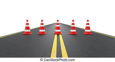 Road with traffic cones. Isolated on white