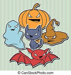 Vector collection of Halloween-related objects and creatures