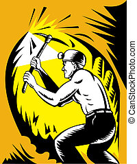 Coal miner at work with pick ax done in woodcut style -...