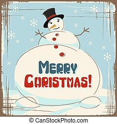 Vector Christmas background with a large snowman