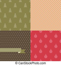 Set of 4 Vector Christmas and New Year seamless patterns